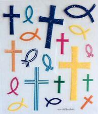 Cross Fish Religious Glitter Scrapbook Stickers