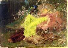 Vintage Painting Print On Canvas Ready to Hang Fairy Tale Princess Forest RARE!