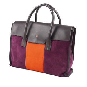 Isaia Purple and Orange Suede Briefcase with Leather Trim NWT $3400 Bag