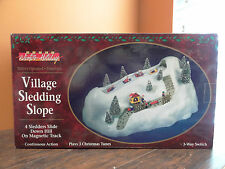 VIDEO!! Village Animated Sledding Hill Toboggan Slope Mountain Christmas Dept 56