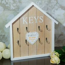 New Wooden Key 8 Hooks Holder Board Shabby Chic Hanger Home Wall Display NEW