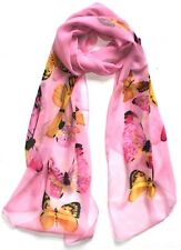 Butterfly Print Scarf, Silk Blend Pretty Pink Quirky Ladies Scarf, Butterflies