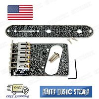 Silver Fender Tele Telecaster Electric Guitar Bridge 6 Saddles Control Plate US
