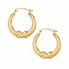 Children's 14K Real Yellow Gold Tubular Baby Hoop Earrings 15mm
