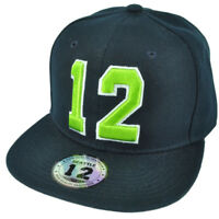 Navy Blue 12 Player Seattle Flat Bill Snapback Hat Cap Neon Green Fan Game 2Tone