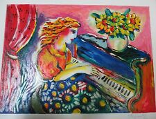 """Zamy Steynovitz """"Pianist in Bloom"""" Signed Numbered Serigraph Piano Musician  art"""