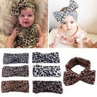 Girls Baby Printing Floral Headwear Bow Leopard Hair Band Headband Knot Turban