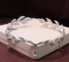 Vintage Waterdrop Leaf Crystal Tiara Crown Frontlet Hair Jewelry Wedding Bridal