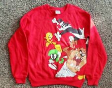 NEW Looney Tunes XS Sweatshirt Bugs Taz Daffy Tweety Long Sleeve Red