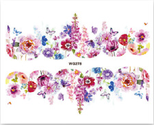 Nail Art Stickers Water Decals Transfers Colourful Flowers (WG278)