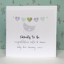 """Personalised Parents to Be Card. Lovely Handmade Card. 6"""" Sq. Glitter Heart/Gems"""