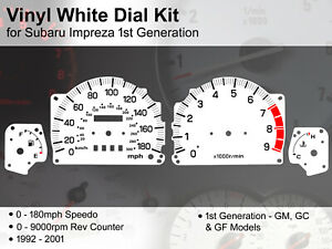 Subaru Impreza 1st Gen (1992 - 2001) - 180mph / 9000rpm - Vinyl White Dial Kit