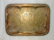 Antique Old Brass Indian Tribal Hindu God Krishna Hand Carved Work Tray Plat