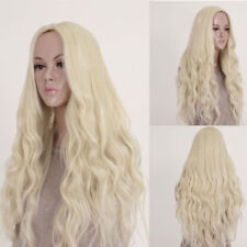 Long Light Blonde Curly Heat Resistant Wavy Cosplay Womens Hair Lace Front Wigs