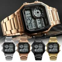 Luxury Men LED Digital Alarm Sport Watch Stainless Steel Military_Wristwatch