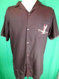 Vintage 70s Dark Brown Polynosic Eagle Print Short Sleeve Summer Festival Shirt
