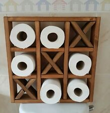 BESPOKE WOODEN TOILET ROLL- NOUGHTS & CROSSES- BATHROOM WALL MOUNTED HOLDER