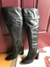 New $595 Tory Burch Bowie Black Leather Over the Knee Boot 9.5