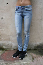 DONDUP Donna Jeans Denim Blu Chiaro Slim Skinny Stretch W29 UK12 Italia Look