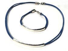 Bijou parure argent 925 et cuir collier et bracelet finery