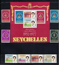 Br CW: Seychelles 1977: #380-387a Silver Jubilee QEII Set & SS NH - Lot#7/22