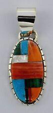 Navajo Handmade Sterling Silver Multi-Color Pendant - Ray Jack