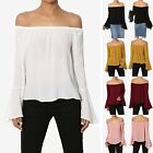TheMogan Off Shoulder Flared Bell Long Sleeve Flowy Top Sweet Solid Blouse