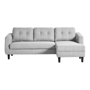 "88.5"" W Pullout Sofa Bed with LAF Chaise Light Grey Fabric Modern Wood Steel"