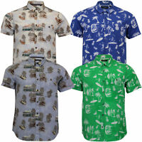 Mens Hawaii Cotton Shirt Brave Soul Pineapple Palm Tree Printed Short Sleeved