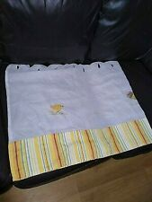 Pair Of CAFE NET CURTAINS Embroidered CHICKENS/HENS Yellow & WHITE Stripe 150x60