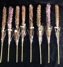 8 Vintage Pink Gold Twist Tinsel Christmas Tree Wreath Floral Craft Spike Picks