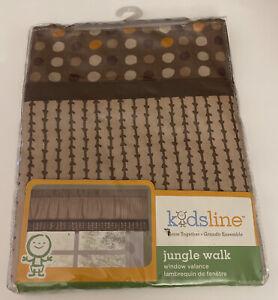 Kidsline Jungle Walk Unisex Brown Polka Dot Baby Nursery Window Valance 60x14 in