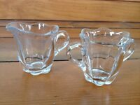 "Vintage Pair of Small Fancy Lead Crystal Cream Sugar Creamer Set 2.5"" tall"