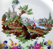 "H & K Tunstall Hunt Scene Cake Plate, English Village & Sailboat 9 ""Plate c1930s"