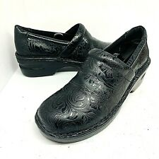 Born Concept Womens Black Paisley Tooled Embossed Clogs Comfort Shoes Size 10M