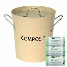 Manteca compost Caddy/bin para reciclaje residuos alimenticios & 150x6L bolsas Compostables