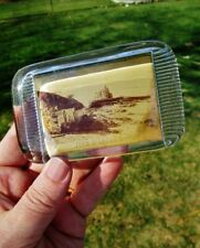 John O'Groat'S Scotland Antique Glass Souvenir Boat Beach Photograph Paperweight