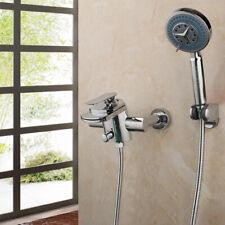 Bathroom Shower Faucet Set Chrome Wall Mount Rainfall Handheld Shower Mixer Taps