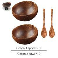 Natural Coconut Bowl Spoon Set Creative Coconut Shell Fruit Salad Bowl Kitchen