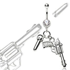 316L Surgical Steel Navel Ring Pistol and Bullet Dangle (Default Title, Silver)