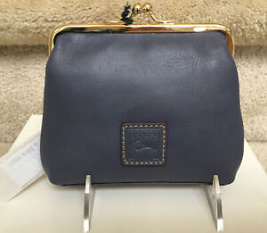 Dooney & Bourke Florentine Large Frame Coin Purse in STEEL BLUE