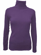 Polo Neck Patternless Long Sleeve Tops & Shirts for Women