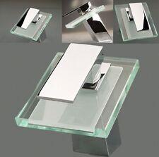 Bathroom Sink Chrome Brass Glass Basin Waterfall Mixer Tap Faucet