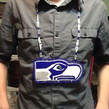 OOAK Seattle Seahawks inspired Hawk head hand beaded Medallion Necklace fan