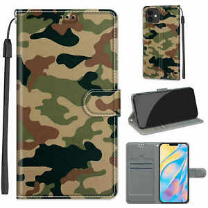 Army Camouflage Flip Wallet Phone Case For Samsung S7 S8 S9 S10 S20 S21 Note 20