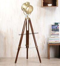 DESIGNER BRASS STUDIO FLOOR LAMP SEARCHLIGHT SPOT LIGHT WITH TRIPOD STAND