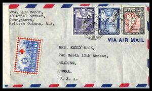 1942 BRITISH GUIANA Censor Air Mail Cover - Georgetown to Reading, PA USA A14