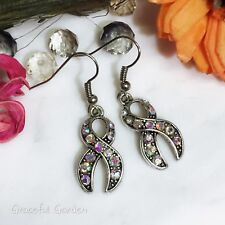 Ab Color Crystal Ribbon Earrings Er3181 Graceful Garden Antique Silver Tone