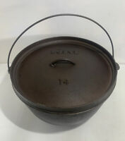 Lodge 14DCO Cast Iron 3 Footed Dutch Oven Camp Chuck Wagon Pot With Handle & Lid