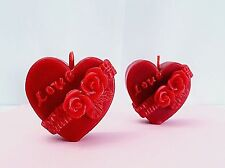 2 Decorative Beeswax votive Heart Candles 100% PURE wedding valentine gift